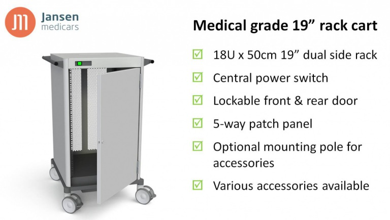 Medical grade 19inch rack cart
